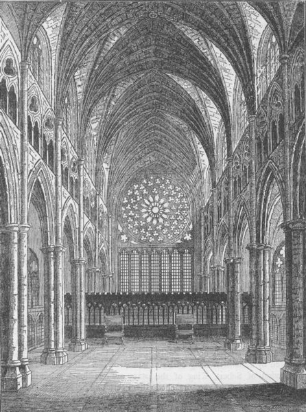 Associate Product ST.PAUL'S. Old St.Paul's-the interior, looking East. London c1880 print