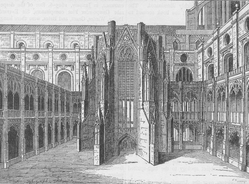 Associate Product ST.PAUL'S. The chapter House of old St.Paul's, from a view by Hollar c1880