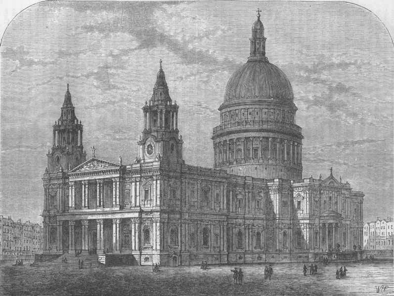 ST.PAUL'S. Exterior of St.Paul's from the south-west, 1800. London c1880 print