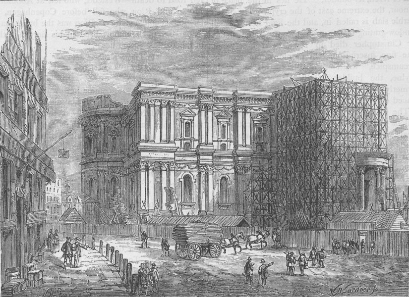 Associate Product ST.PAUL'S. The rebuilding of St.Paul's cathedral. London c1880 old print