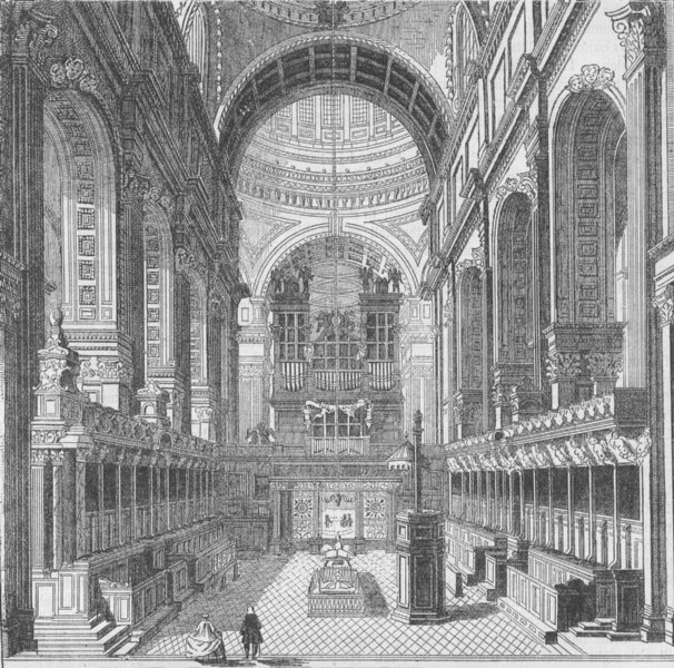 Associate Product ST.PAUL'S. The choir before the removal of the screen, in 1754. London c1880