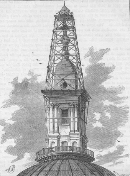 Associate Product ST.PAUL'S. The scaffolding and observatory on St.Paul's in 1848. London c1880