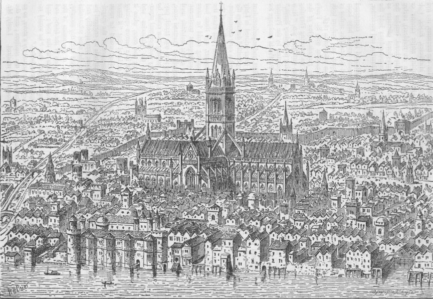 Associate Product ST.PAUL'S. St.Paul's and the neighbourhood in 1540. London c1880 old print