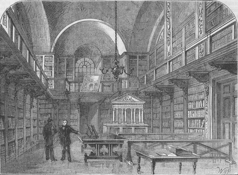Associate Product ST.PAUL'S CHURCHYARD. The library of St.Paul's. London c1880 old antique print