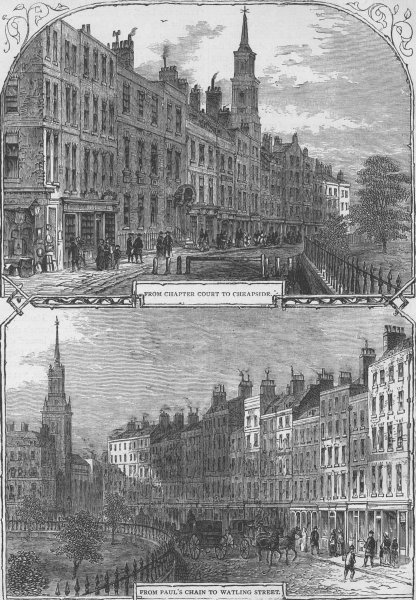 Associate Product ST.PAUL'S CHURCHYARD. St.Paul's churchyard in 1820 (from views by Horner) c1880