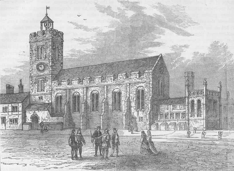 Associate Product CITY OF LONDON. The church of St.Michael ad Bladum (aka le-Querne) c1880 print