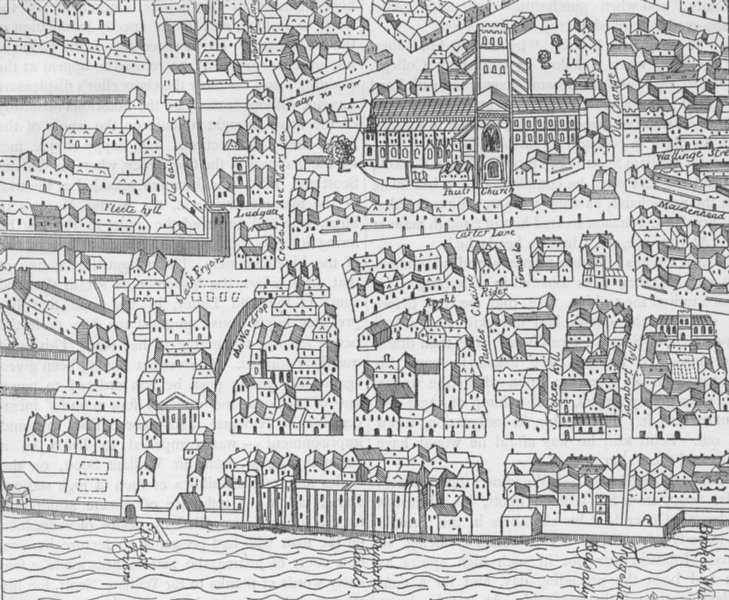Associate Product CITY OF LONDON. St. Paul's & neighbourhood (from Aggas's plan, 1563) c1880 map