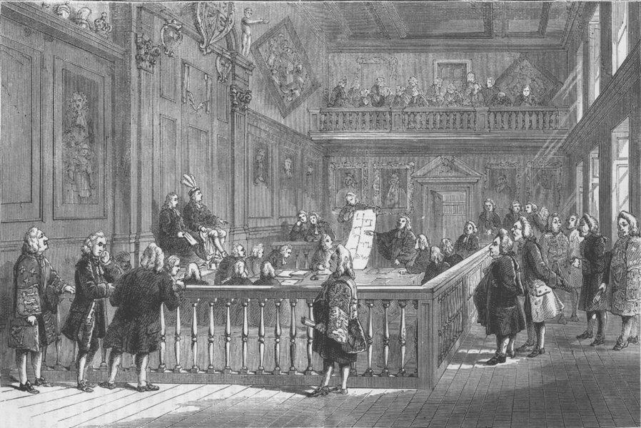 HERALDS' COLLEGE. The last heraldic Court. London c1880 old antique print