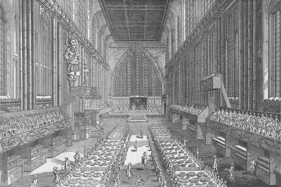 Associate Product CHEAPSIDE. The Royal banquet in Guildhall in 1761. London c1880 old print