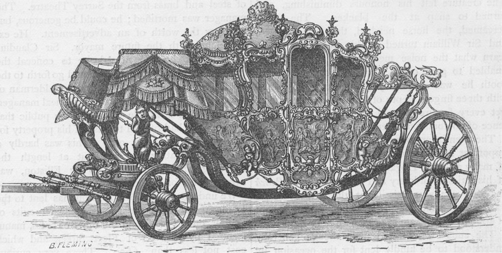 Associate Product CHEAPSIDE. The Lord Mayor's coach. London c1880 old antique print picture