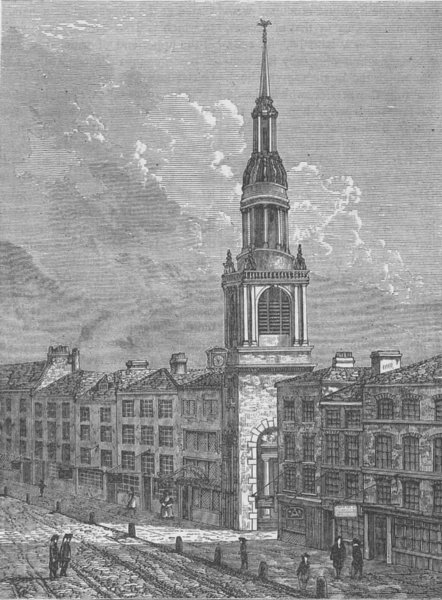 Associate Product CHEAPSIDE. Bow church, Cheapside, in about 1750. London c1880 old print