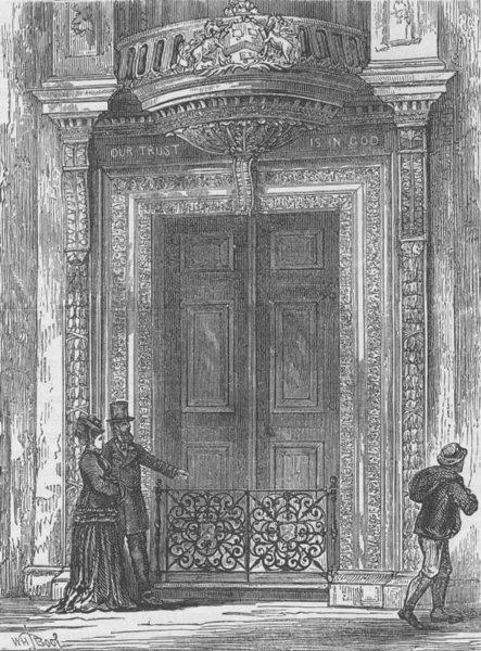 Associate Product CHEAPSIDE. The door of Saddlers' Hall. London c1880 old antique print picture