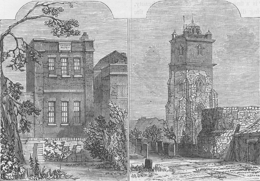 Associate Product CHEAPSIDE. Milton's House; Milton's burial-place. London c1880 old print