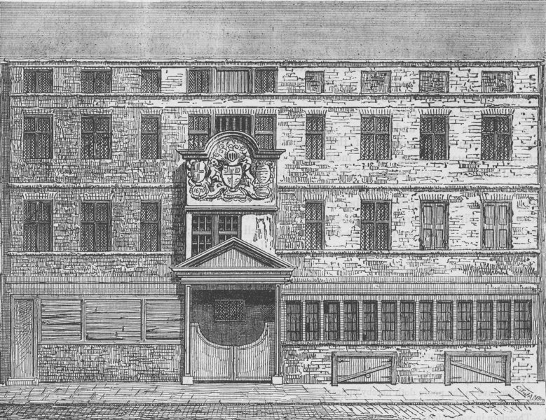 Associate Product CHEAPSIDE. Wood Street Compter, in 1793. London c1880 old antique print