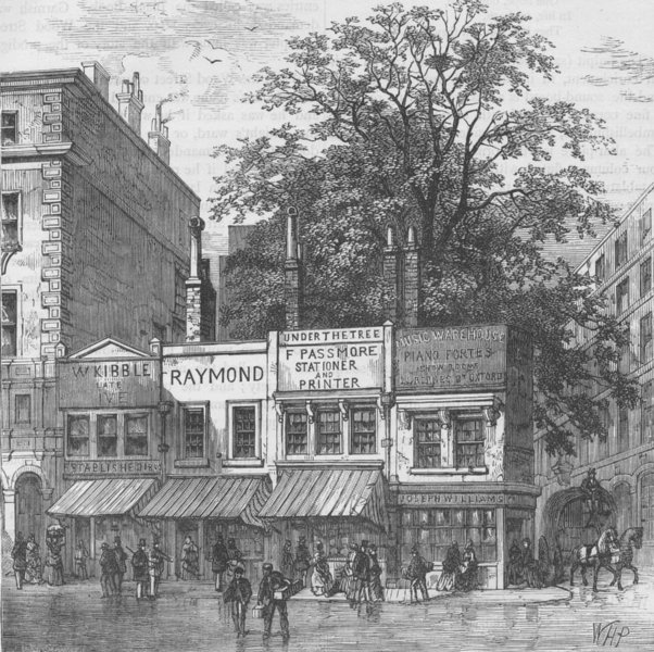 Associate Product CHEAPSIDE. The tree at the corner of Wood Street, 1870. London c1880 old print