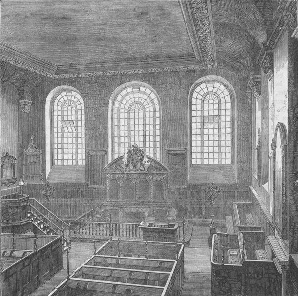 CHEAPSIDE. Interior of St.Michael's, Wood Street. London c1880 old print