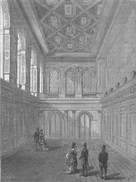 Associate Product WOOD STREET, CITY OF LONDON. Interior of Haberdashers' Hall c1880 old print