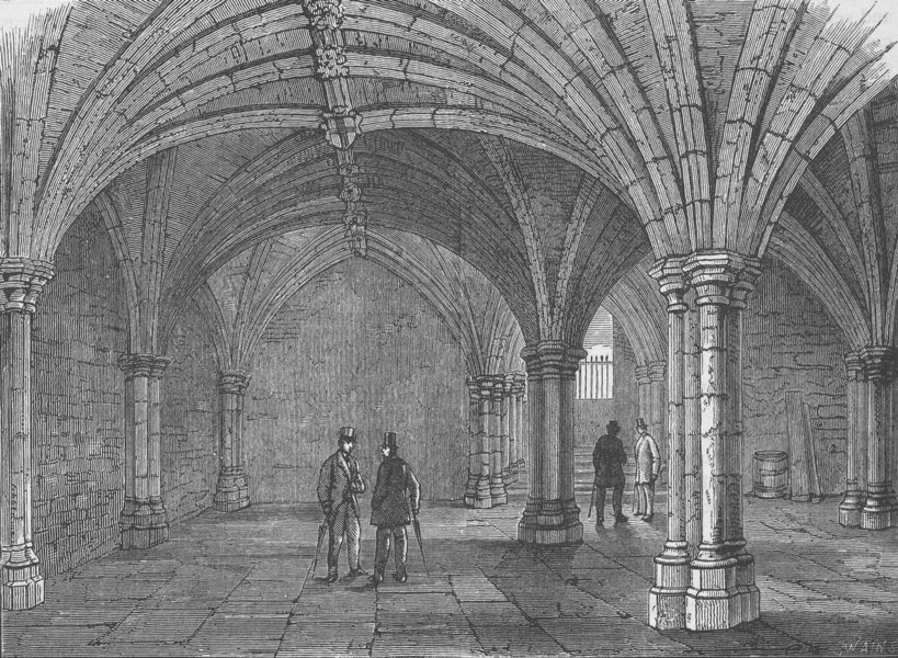 Associate Product GUILDHALL. The crypt of' Guildhall. London c1880 old antique print picture