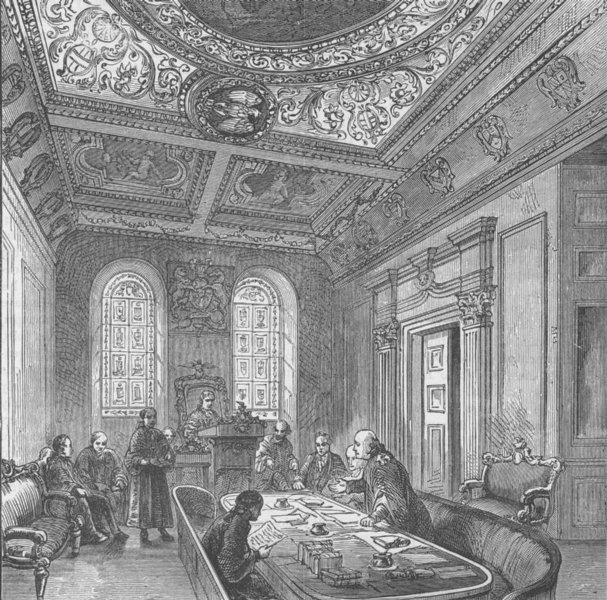 Associate Product GUILDHALL. The Court of aldermen, Guildhall. London c1880 old antique print