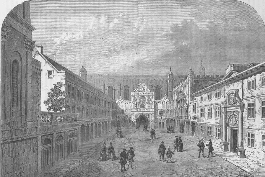 """Associate Product GUILDHALL. Old front of Guildhall (from Sevmour's """"London,"""" 1734) c1880 print"""