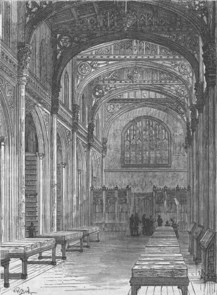 Associate Product THE LORD MAYORS OF LONDON. The new library, Guildhall c1880 old antique print