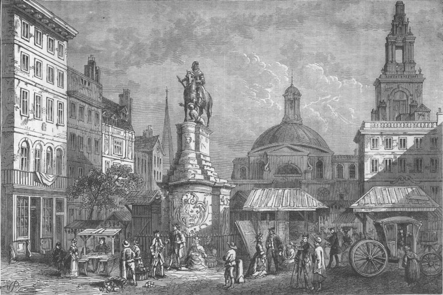 Associate Product CITY OF LONDON. The Stocks' Market, site of the Mansion House c1880 old print