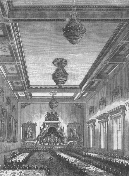 Associate Product OLD JEWRY. Interior of Grocers' Hall. London c1880 antique print picture