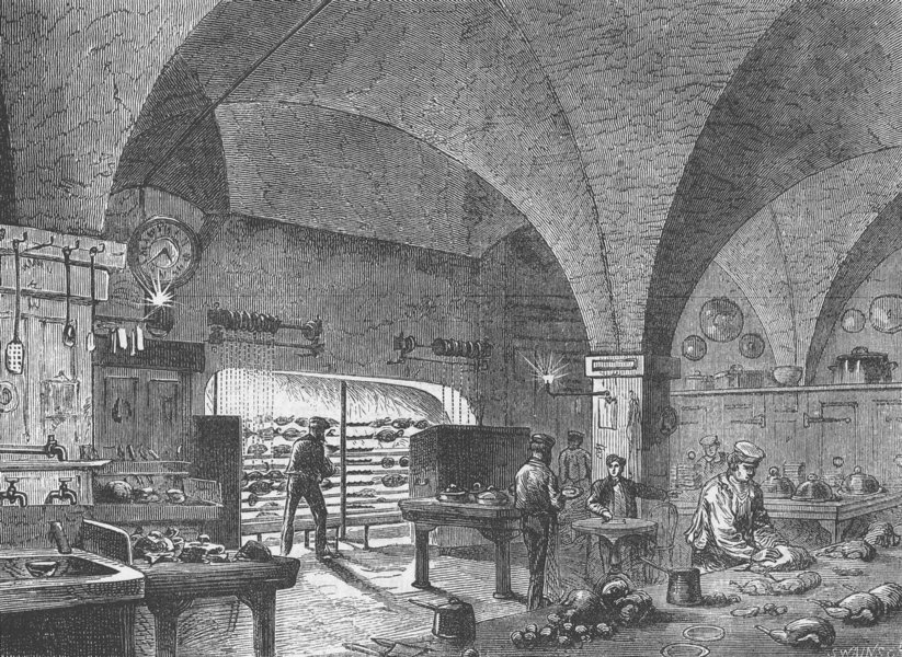 Associate Product CITY OF LONDON. The Mansion House kitchen c1880 old antique print picture