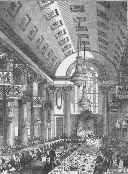 Associate Product THE MANSION HOUSE. Interior of the Egyptian Hall. London c1880 old print