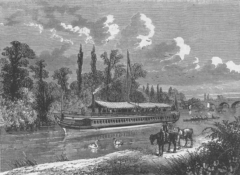 """Associate Product CITY OF LONDON. The """"Maria Wood"""", the City Corporation's barge c1880 old print"""