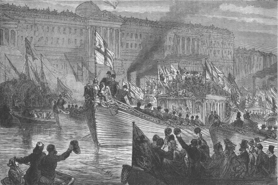 Associate Product SAXON LONDON. Lord Mayor's water procession c1880 old antique print picture