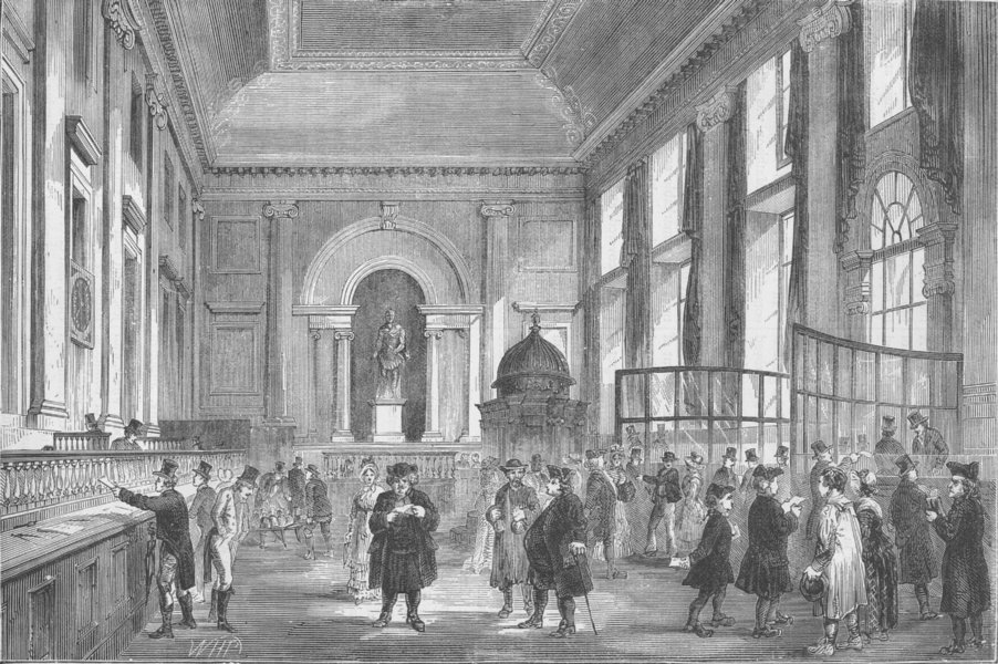 Associate Product THE BANK OF ENGLAND. Dividend day at the Bank. London c1880 old antique print