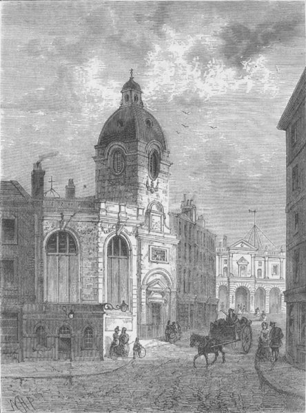 Associate Product THE BANK OF ENGLAND. The church of St.Benet Fink. London c1880 old print
