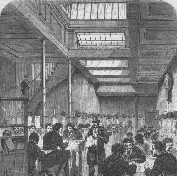 Associate Product THE STOCK EXCHANGE. The clearing House. London c1880 old antique print picture