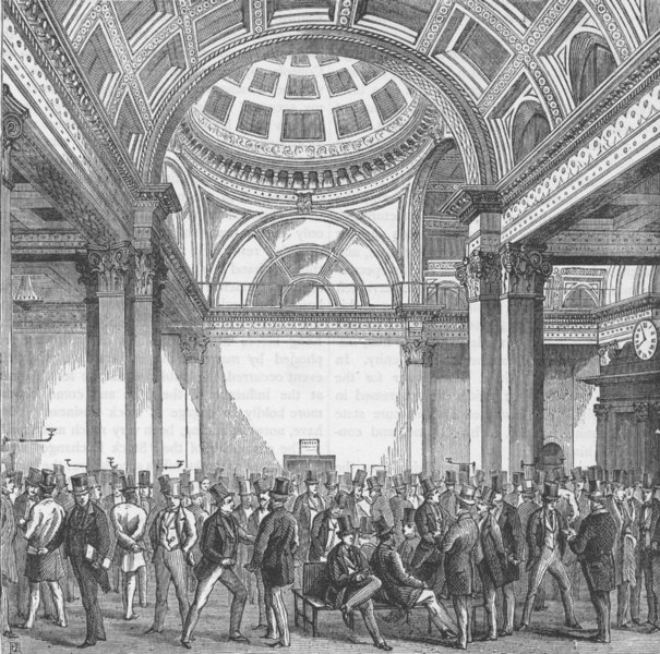 Associate Product THE STOCK EXCHANGE. The present stock Exchange. London c1880 old antique print