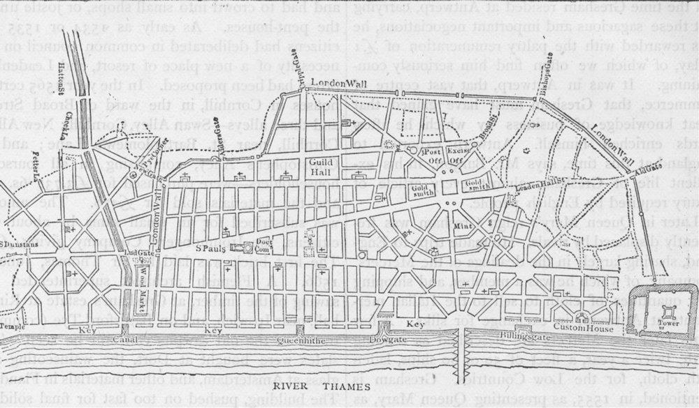 Associate Product CITY OF LONDON. Wren's plan for rebuilding London c1880 old antique map chart