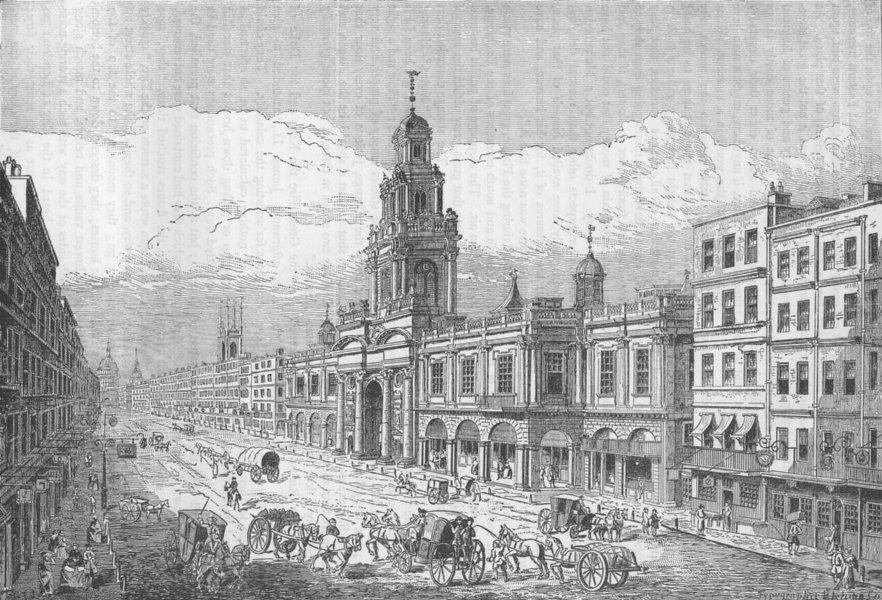 Associate Product THE ROYAL EXCHANGE. The second Royal Exchange, Cornhill. London c1880 print