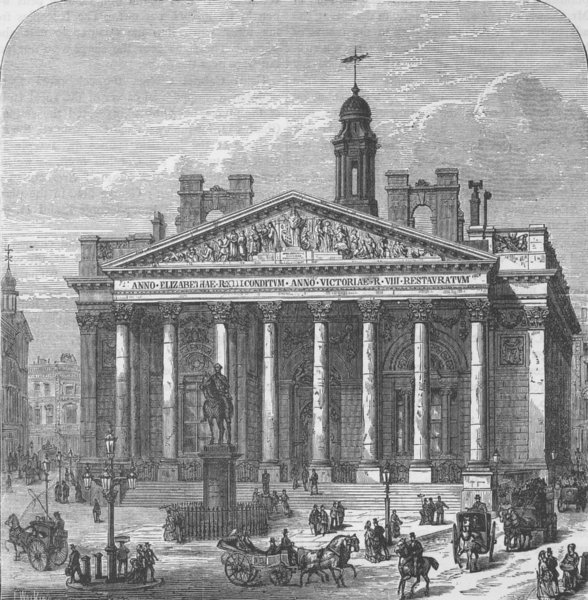 Associate Product THE ROYAL EXCHANGE. The present Royal Exchange. London c1880 old antique print