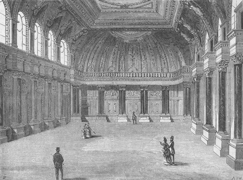 Associate Product THROGMORTON STREET. Interior of Drapers' Hall. London c1880 old antique print