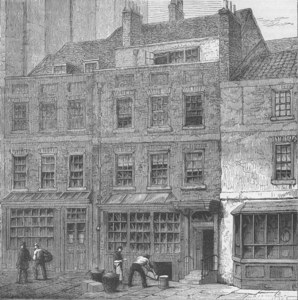 Associate Product LOMBARD STREET. Pope's House, plough Court. London c1880 old antique print