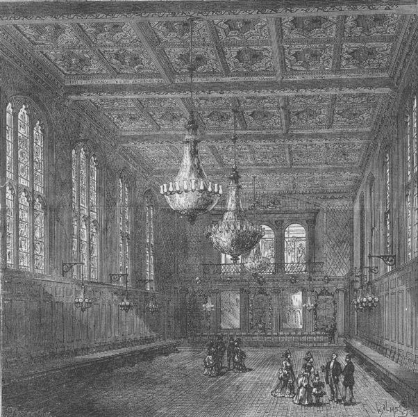 Associate Product CITY OF LONDON. Interior of Merchant Taylors' Hall c1880 old antique print