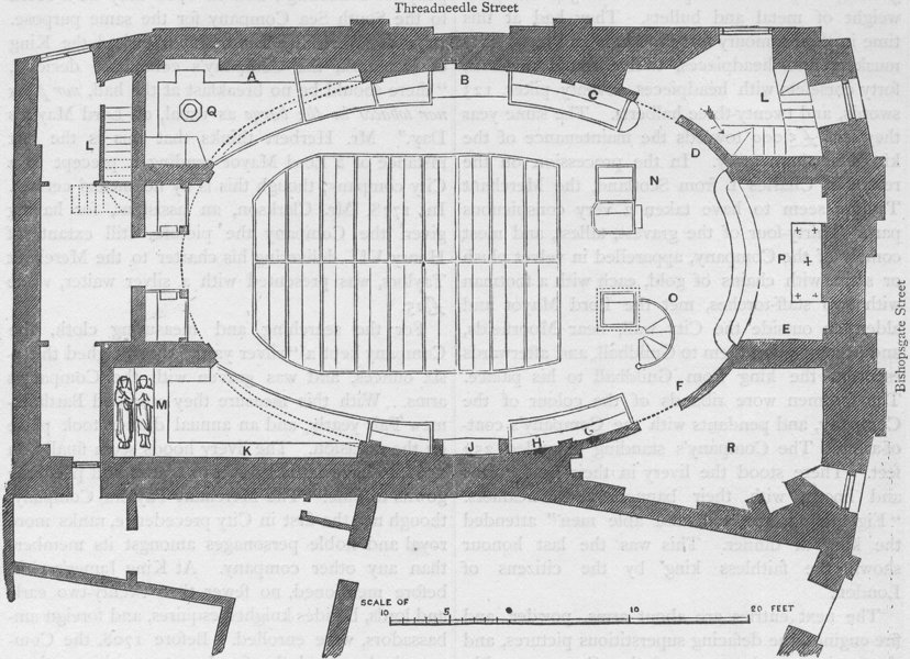 Associate Product THREADNEEDLE STREET St.Martin Outwich church plan (Smith 1873).London c1880 map