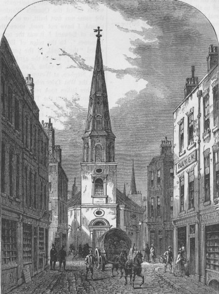 Associate Product WATLING STREET. St.Antholin's church. London c1880 old antique print picture