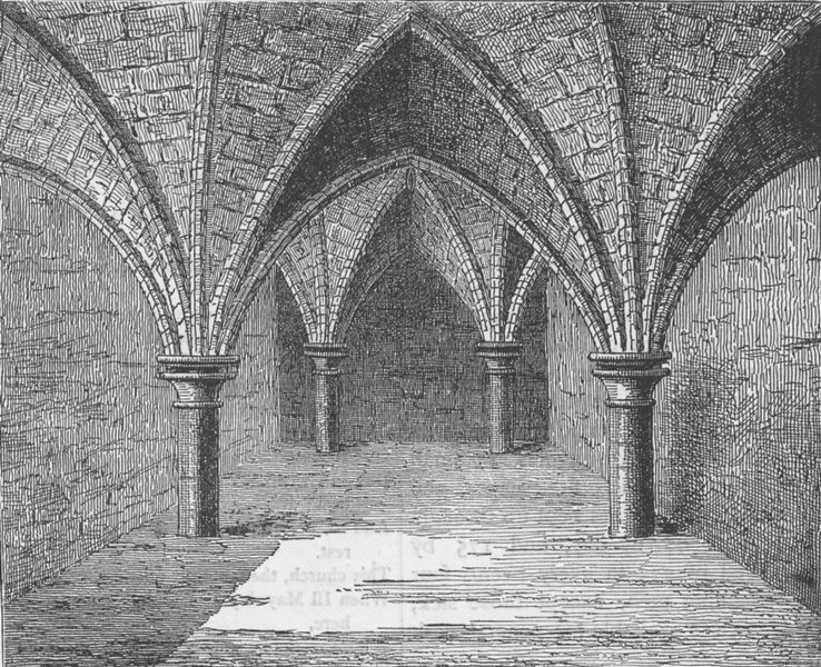 Associate Product BREAD STREET, CHEAPSIDE. The crypt of Gerard's Hall. London c1880 old print