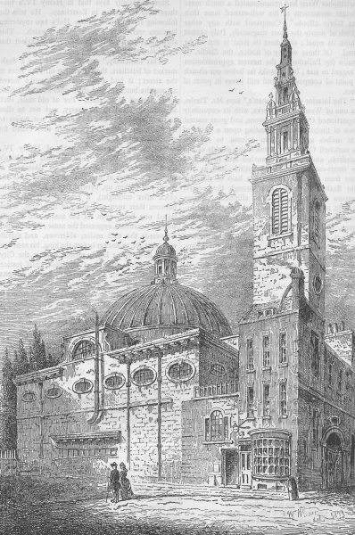 Associate Product CANNON STREET. Exterior of St.Stephen's, Walbrook, in 1700. London c1880 print