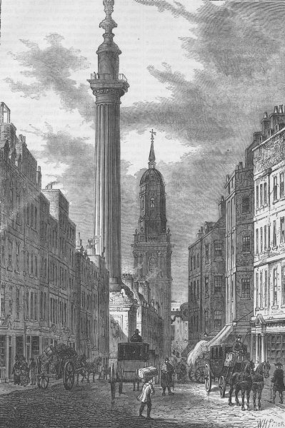 Associate Product THE MONUMENT. The monument & the church of St.Magnus, about 1800. London c1880