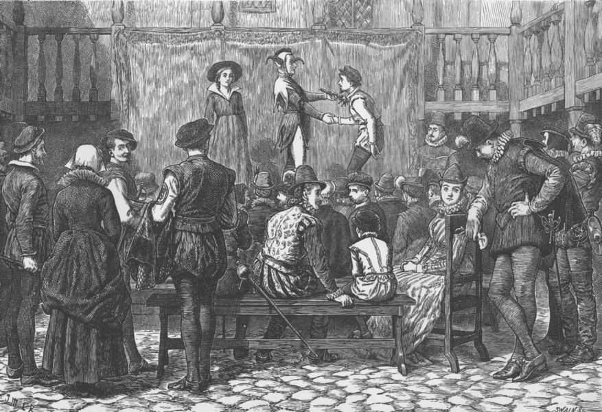 Associate Product THEATRE. A play in a London inn yard, in the time of Queen Elizabeth c1880