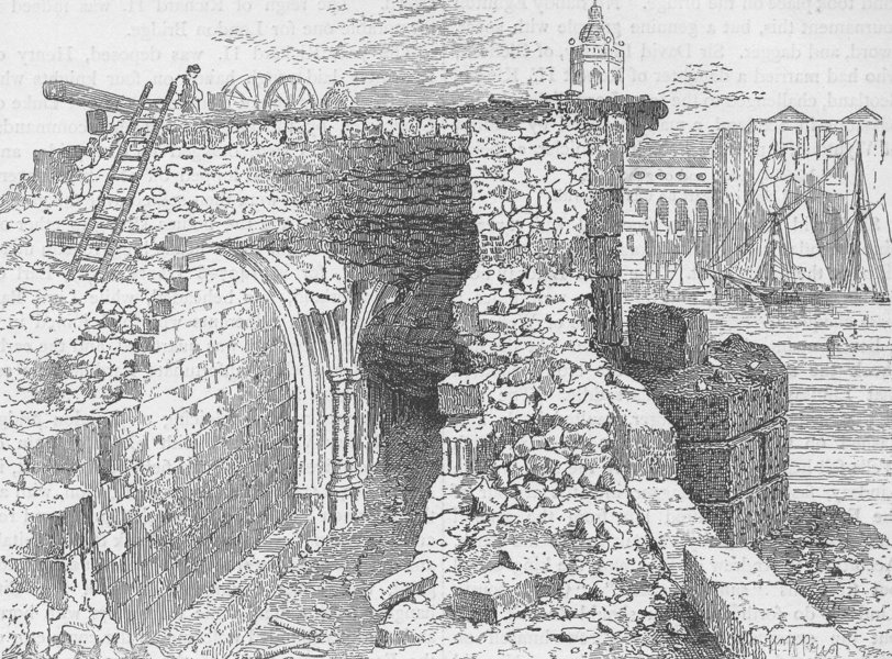 Associate Product OLD LONDON BRIDGE. Remains of the chapel of St.Thomas, during demolition c1880