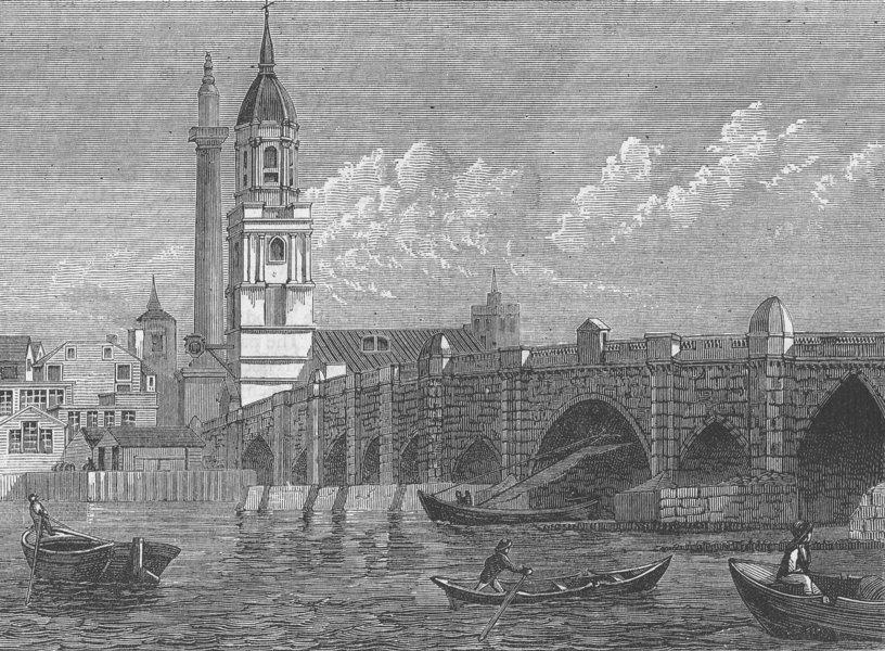 Associate Product LONDON BRIDGE. London Bridge in 1796 c1880 old antique vintage print picture
