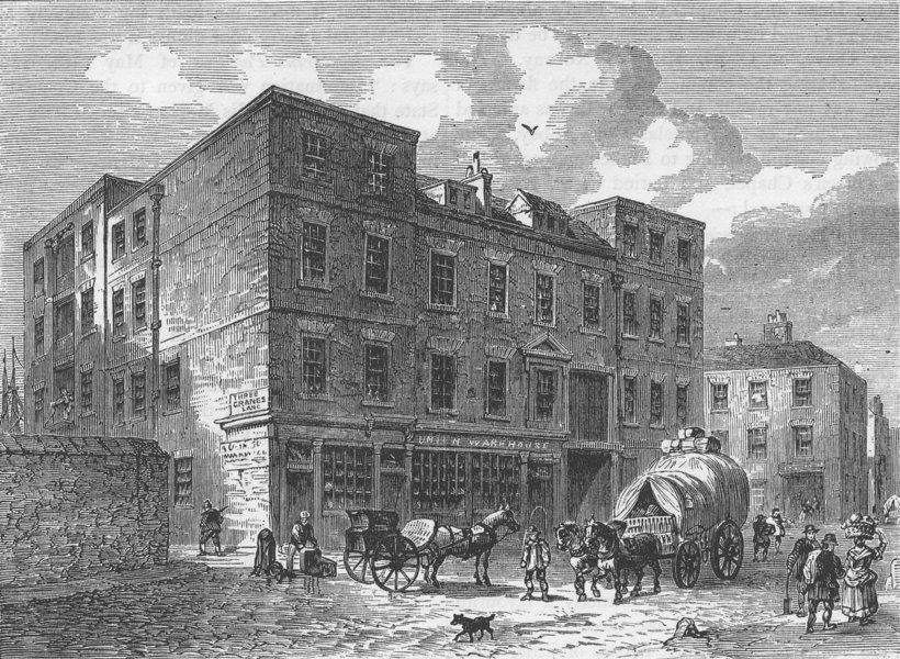"Associate Product UPPER THAMES STREET. The ""Three Cranes,"" Thames Street. London c1880 old print"
